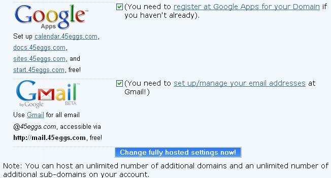 dreamhost & google app
