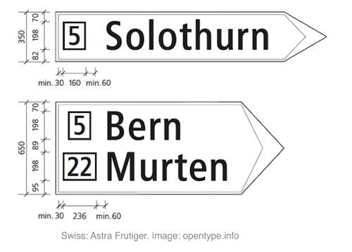 Frutiger Astra 作为瑞士高速公路用字体